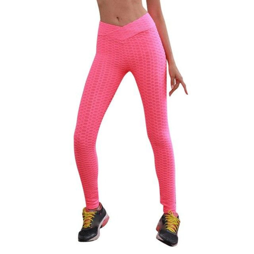 Women'S High Waist Leggings-Women - Apparel - Activewear - Leggings-Pink-S-Product Details: Women's High Waist Stretch Fitness Leggings Occasion: Daily, Casual Material: Polyester Pattern Type: Solid Waist Type: High Pant Style: Long Pants Size Chart:-Keyomi-Sook