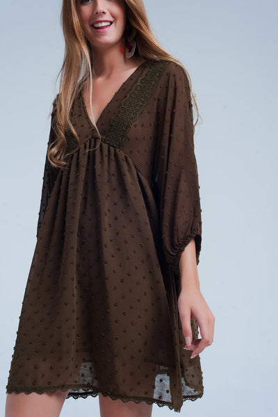 Khaki Embellished Mini Dress-Women - Apparel - Dresses - Day to Night-M-Keyomi-Sook
