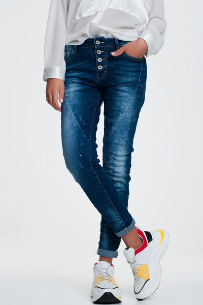 Jeans With Marbled Multi-Button-Women - Apparel - Denim - Jeans-L-Keyomi-Sook