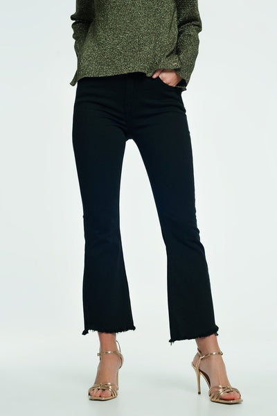 High Rise Raw Hem Flared Jeans In Black-Women - Apparel - Pants - Trousers-Large-Keyomi-Sook