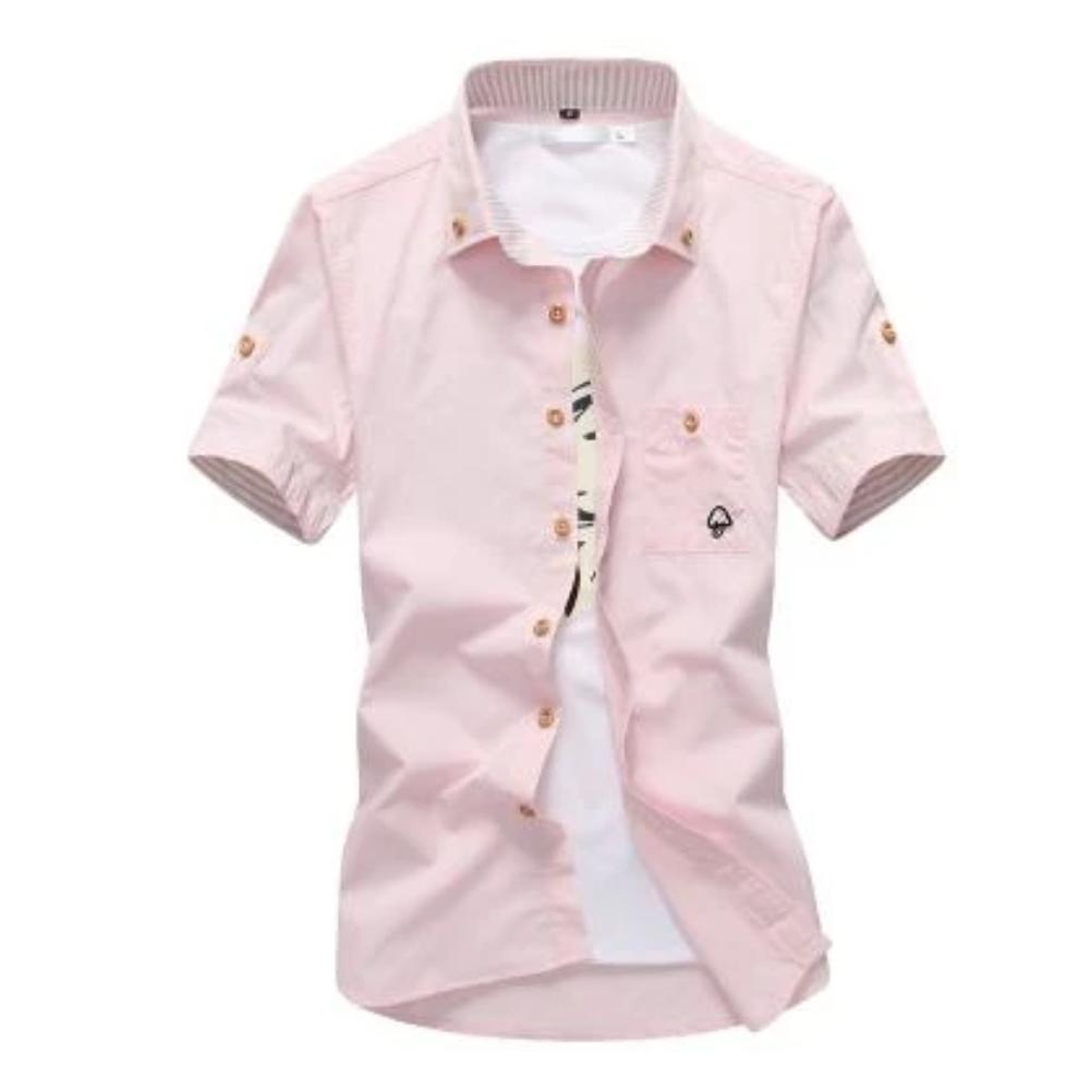 Men's Mushroom Stitching Casual Shirt-Men's Shirt-Pink-size M 165cm 55kg-Product Details: Men's Mushroom Embroidery Short Sleeve Casual Cotton Shirt Item Type: Shirts Shirts Type: Casual Shirts Material: Polyester, Cotton Sleeve Length (cm): Short Collar: Turn-down Style: Casual Fabric Type: Broadcloth Fabric: Cotton, Polyester Size Chart:-Keyomi-Sook