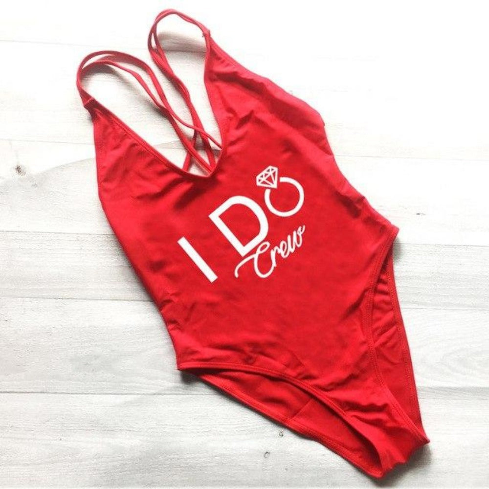 Women's I Do Crew Print Swimsuit-Ladies Swimwear-232 RDWT-S-Product Details: Women's I Do Crew Print One Piece Swimsuit Color: Black, White, Blue, Red, Yellow, Pink, Purple Waist: High Pattern: Letter Material: Spandex, Nylon Size Chart:-Keyomi-Sook