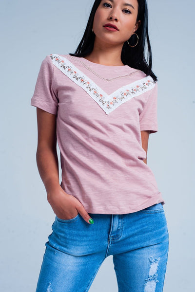Pink T-Shirt With Embroidery-Women - Apparel - Shirts - T-Shirts-Product Details Pink t-shirt with embroidery made from cotton. This shirt has short sleeves and embroidered flowers.-Keyomi-Sook