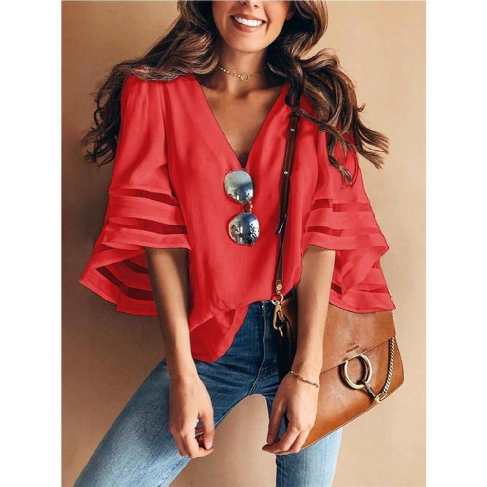 Women'S V-Neck Half Sleeve Loose Kimono Blouse-Tops, Blouses, & Tees-Red-S-Product Details: Women's Plus Size V-neck Half Sleeve Loose Kimono Chiffon Blouse Material: Polyester, Cotton Blend Season: Summer, Spring, Autumn Sleeve Length: Long Sleeve Type: General Occasion: Casual, Party, Beach Style: Casual, Sexy, Fashion Size Chart:-Keyomi-Sook