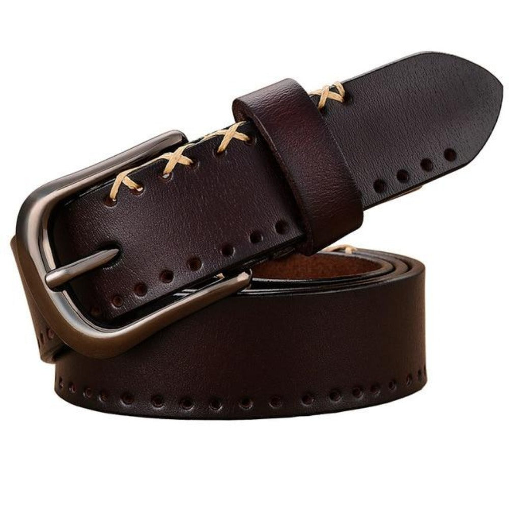 Women's Cross-Stitched Cow Skin Leather Belt-Ladies Belts-Product Details: Women's Cross-Stitched Cow Skin Pin Buckle Genuine Leather Belt Belts Material: Cow Skin Size Chart:-Keyomi-Sook