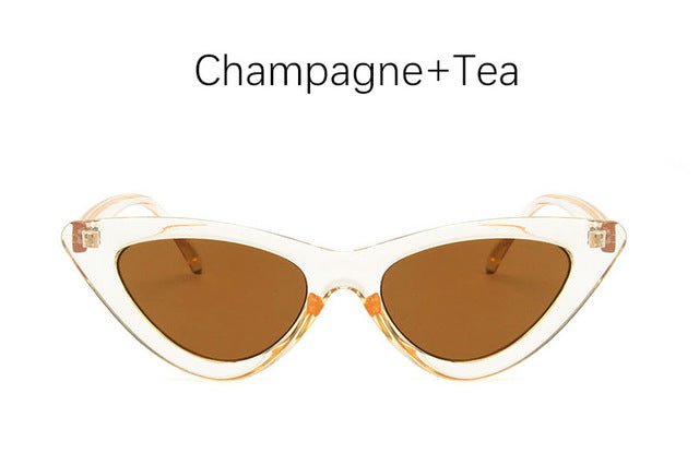Retro Cat Eye Sunglasses-Ladies Sunglasses-Champagne Tea-Product Detail: cat eye shade for women fashion sunglasses brand woman vintage retro triangular cat-eye glasses sunglasses Sexy Frame Material: Poly-carbonate Style: Cat Eye Lenses Optical Attribute: UV400, Photo chromic Dimensions: Lens Width: 52 mm Lens Height: 45 mm-Keyomi-Sook