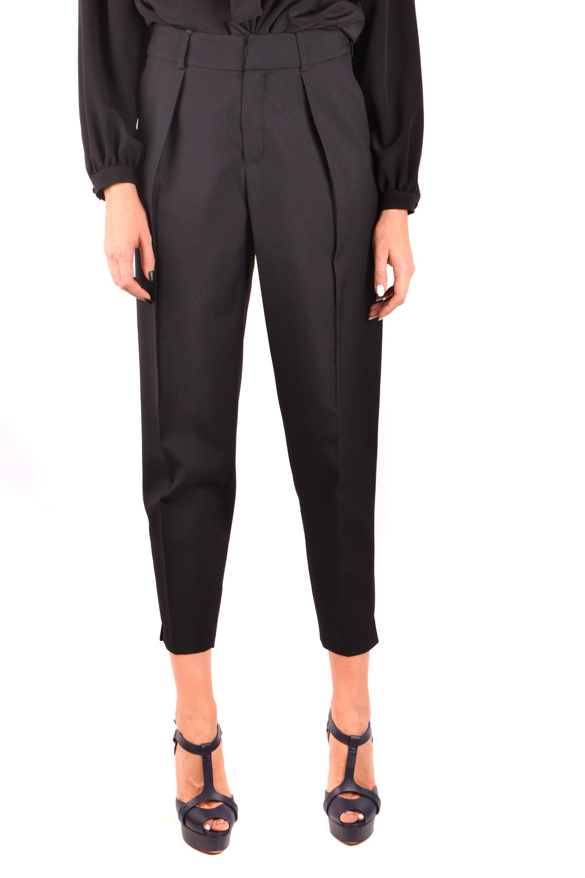 Trousers Saint Laurent-Trousers - WOMAN-36-Product Details Season: Fall / WinterTerms: New With LabelMain Color: BlackGender: WomanMade In: ItalyManufacturer Part Number: 504413 Y239WSize: FrYear: 2018Clothing Type: TrousersComposition: Wool 100%-Keyomi-Sook