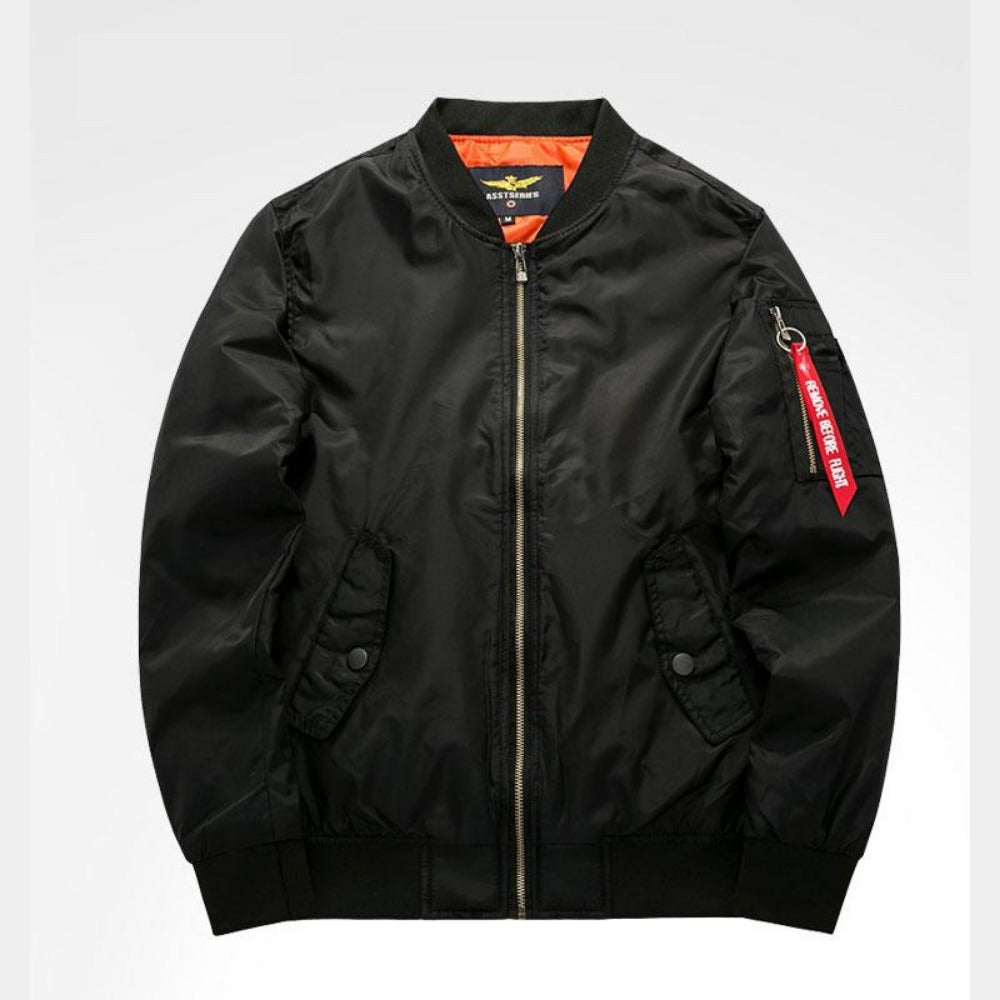 Men's Thick and Thin Military Bomber Jacket-Men's Jackets-8-Black-S-Product Details: Men's Thick and Thin Military Motorcycle Bomber Jacket Lining Material: Polyester Material: Polyester, Nylon Cuff Style: Conventional Collar: V-Neck Size Chart:-Keyomi-Sook
