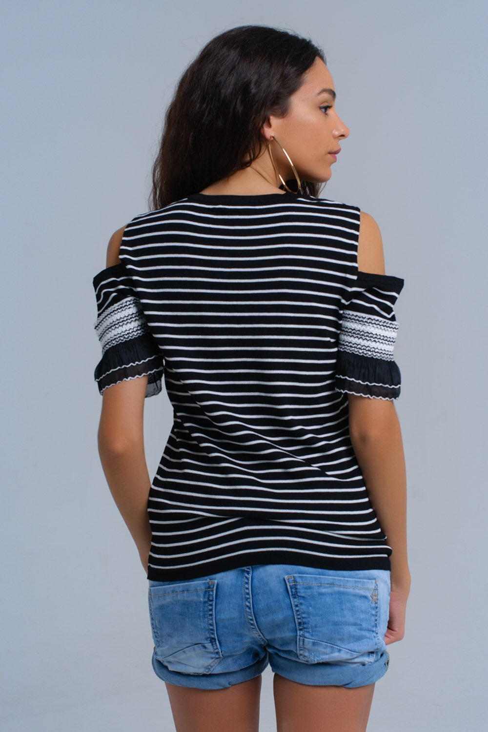 Black Striped Sweater With Embroidery-Women - Apparel - Sweaters - Pull Over-Product Details Black cold shoulder sweater with white horizontal stripes. It has a crew neck, a round hem and an open detail in the arm with embroidered bands.-Keyomi-Sook