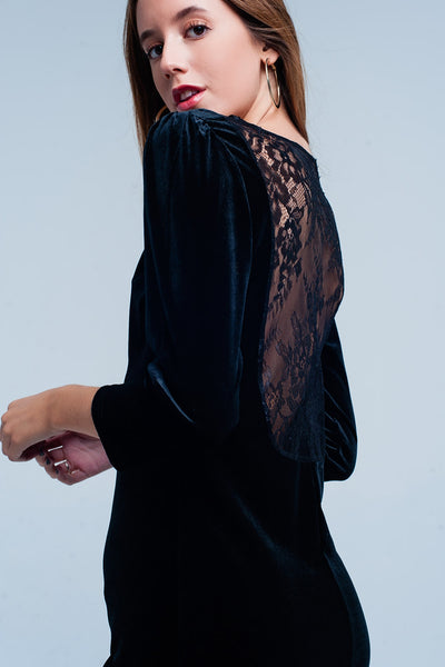 Black Velvet Mini Dress Open Back-Women - Apparel - Dresses - Day to Night-L-Keyomi-Sook
