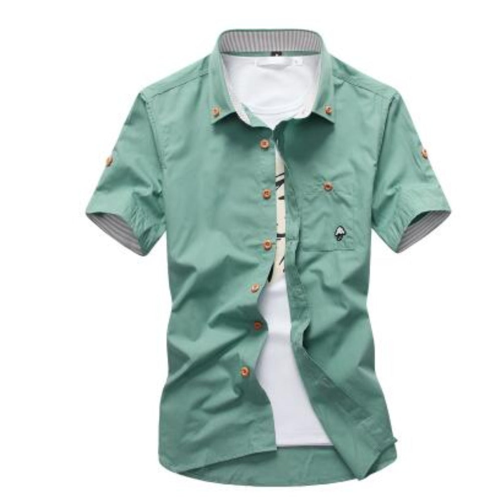 Men's Mushroom Stitching Casual Shirt-Men's Shirt-GREEN-size M 165cm 55kg-Product Details: Men's Mushroom Embroidery Short Sleeve Casual Cotton Shirt Item Type: Shirts Shirts Type: Casual Shirts Material: Polyester, Cotton Sleeve Length (cm): Short Collar: Turn-down Style: Casual Fabric Type: Broadcloth Fabric: Cotton, Polyester Size Chart:-Keyomi-Sook