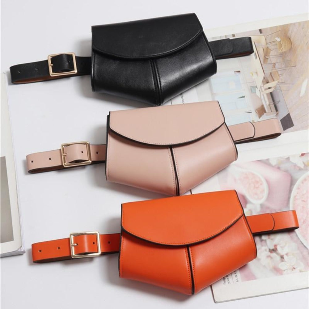 Women'S Serpentine Waist Leather Belt Bag-Women - Bags - Shoulder Bags-Product Details: Women's Serpentine Fanny Pack Mini Disco Waist Leather Belt Bag Item Type: Waist Packs Main Material: PU Style: Fashion Pattern Type: Solid Shape: Pillow Dimensions: Strap Drop: 102 cm Item Length: 18 cm-Keyomi-Sook