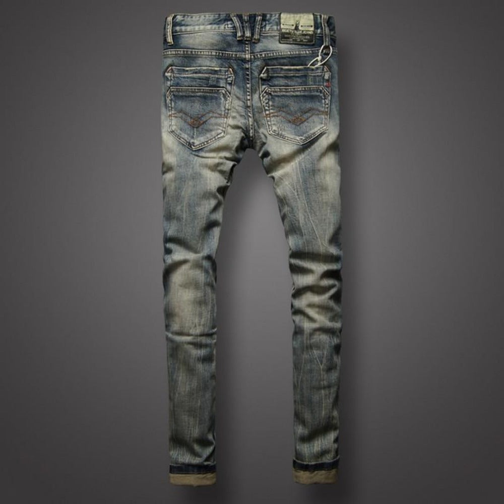 Men's Italian Style Classic Denim Jeans-Men's Jeans-Product Details: Men's Italian Style Slim Fit Buttons Retro Classic Denim Jeans Material: Denim, Cotton Decoration: Scratched Length: Full Length Waist Type: Mid Fabric Type: Stripe Thickness: Midweight Size Chart:-Keyomi-Sook