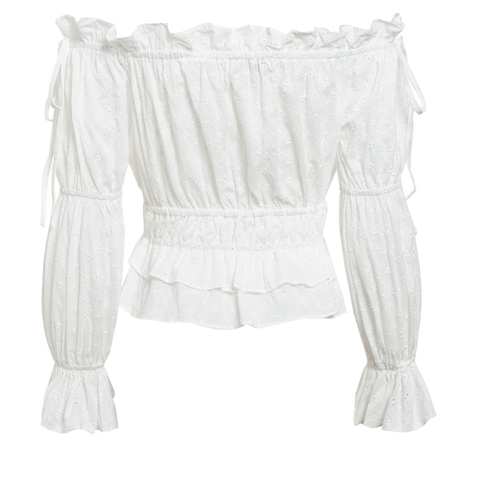 Women's Slash Neck Lantern Sleeve Ruffle Boho Crop Top-Crop/Halter Tops & Bralettes-Product Details: Women's Slash Neck Lantern Sleeve Ruffle Off Shoulder Crop Top Boho Blouse Material: Cotton Clothing Length: Short Style: Casual Fabric Type: Broadcloth Sleeve Length (cm): Nine Quarter Decoration: Ruffles Pattern Type: Solid Collar: Slash Neck Sleeve Style: Lantern Sleeve Size Chart:-Keyomi-Sook