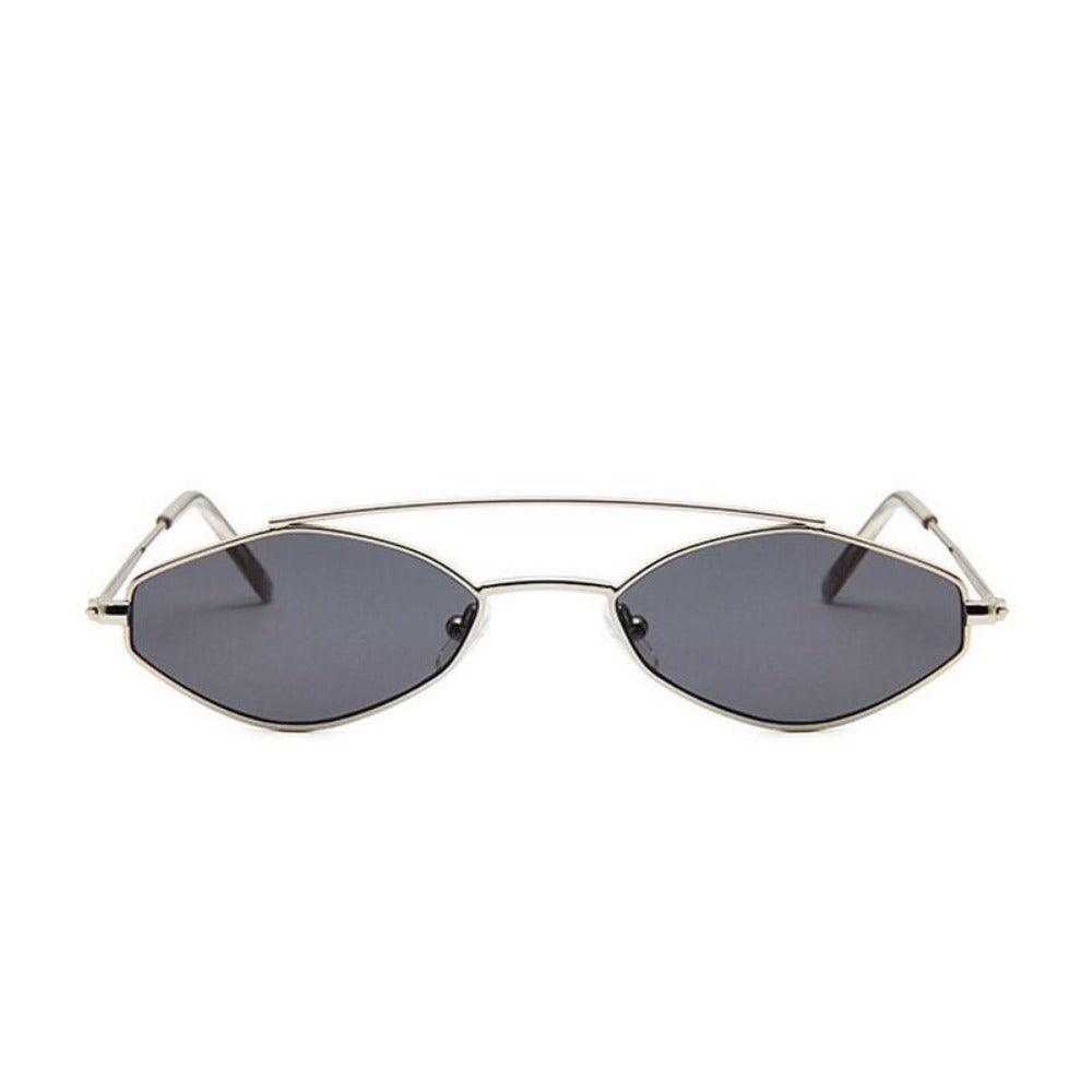 Women's Nose Resting Cat Eye Sunglasses-Ladies Sunglasses-D879 silver grey-Product Details: Women's Nose Resting Cat Eye Retro Small Double Beam Sunglasses Lenses Optical Attribute: Gradient, UV400 Lenses Material: Resin Style: Cat Eye Frame Material: Alloy Dimensions:-Keyomi-Sook