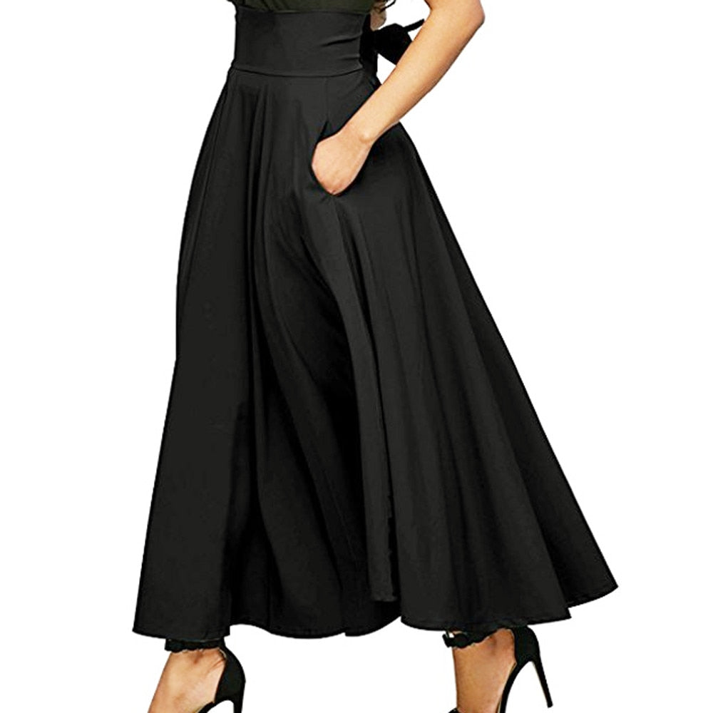 Women'S Retro High Waist Pleated Belted Maxi Skirt-Skirts-Product Details: Women's Retro High Waist Pleated Belted Plus Size Maxi Skirt Material: Polyester Style: Casual Pattern Type: Solid Silhouette: Pleated Dresses Length: Ankle-Length Waistline: Empire Size Chart:-Keyomi-Sook