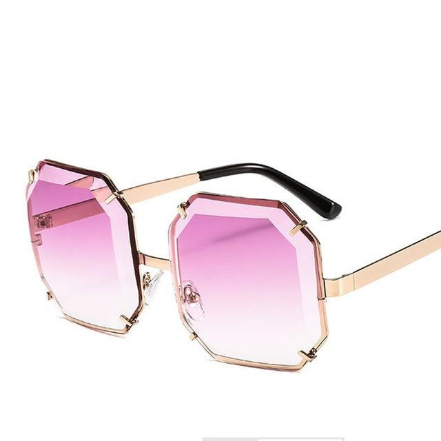 Women's Polygonal Cut Resin Lens Sunglasses-Ladies Sunglasses-D897 gold purple-Product Detail: Women Luxury Brand Designer Polygonal Cut Resin Lens Fashion Square Sunglasses Lenses Material:Resin Frame Material: Alloy Style: Square Dimension: Lens Width: 59 mmLens Height: 59 mm-Keyomi-Sook
