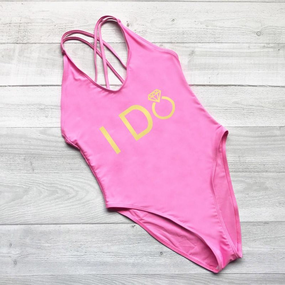 Women's I Do Crew Print Swimsuit-Ladies Swimwear-232 PKGD-S-Product Details: Women's I Do Crew Print One Piece Swimsuit Color: Black, White, Blue, Red, Yellow, Pink, Purple Waist: High Pattern: Letter Material: Spandex, Nylon Size Chart:-Keyomi-Sook