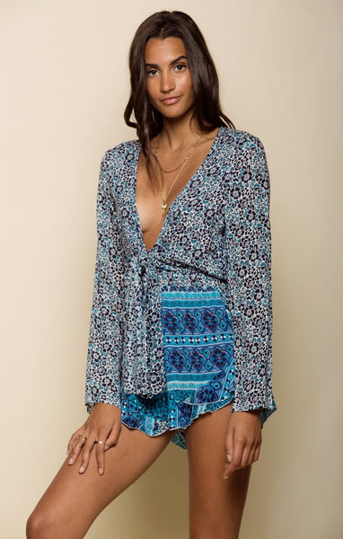 Winona Tie Romper-Women's Fashion - Women's Clothing - Jumpsuits-Product Details 100% Viscose Long Sleeved Printed Romper With Tie Front Model Is Wearing Size Small Hand Wash Cold, Lay Flat To Dry Easy Measure Conversion XS/0 S/1 M/2 L/3 US 0/2 2/4 6/8 8/10 AUS 4/6 6/8 10/12 12/14 BRAZIL 34/36 36/38 40/42 42/44 CHINA 76a/80a 80a/84a 88a/92a 92a/95a EUP 32/34 34/36 38/40 40/42 JAP 5/7 7/9 11/13 13/15 RUS 42 42/44 46/48 50/52 UK 4/6 6/8 10/12 12/14 Detailed View Size Chart-Keyomi-Sook