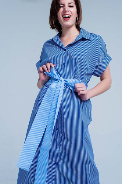 Blue Dress With Buttons And Stripes-Women - Apparel - Dresses - Day to Night-L-Keyomi-Sook