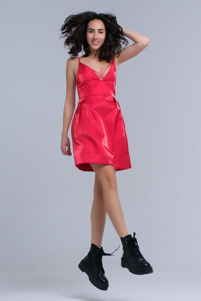 Fuchsia Dress With Crossed Ribbons-Women - Apparel - Dresses - Day to Night-L-Keyomi-Sook