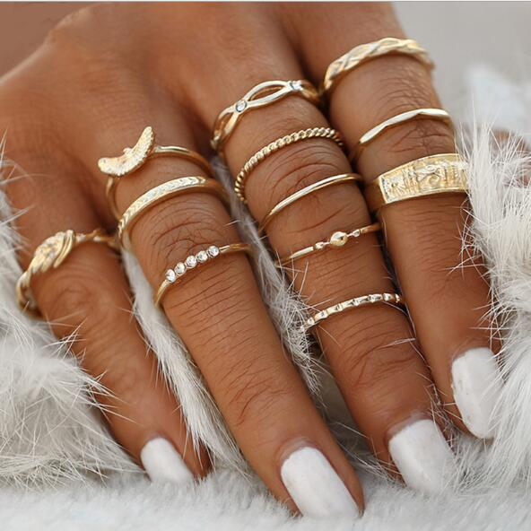 12 Pc/Set Gold Ring-Ladies Rings-Keyomi-Sook