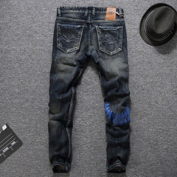 Men's Slim Fit Classic Denim Long Pants-Men's Jeans-Product Details: Men's Slim Fit Cotton Classic Denim Long Pants Size Chart:-Keyomi-Sook