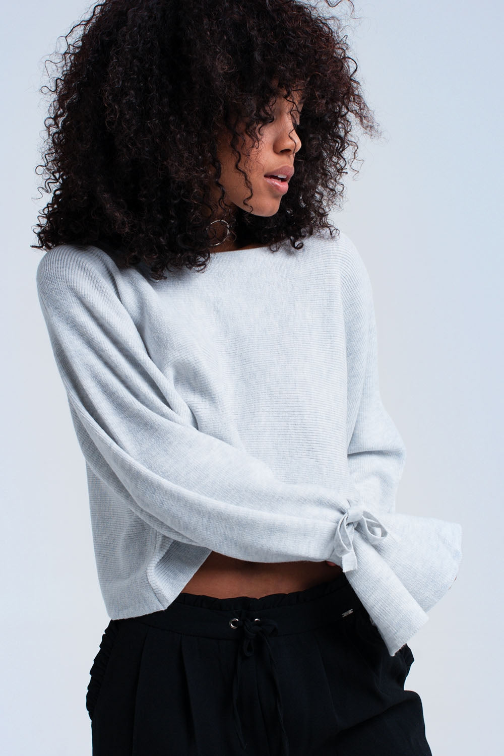 Gray Crop Sweater With Ribbons-Women - Apparel - Sweaters - Pull Over-Product Details Gray crop ribbed sweater in oversized fit. It has a boat neck and 3/4 sleeves with ribbons that you can tie. Soft woven fabric.-Keyomi-Sook