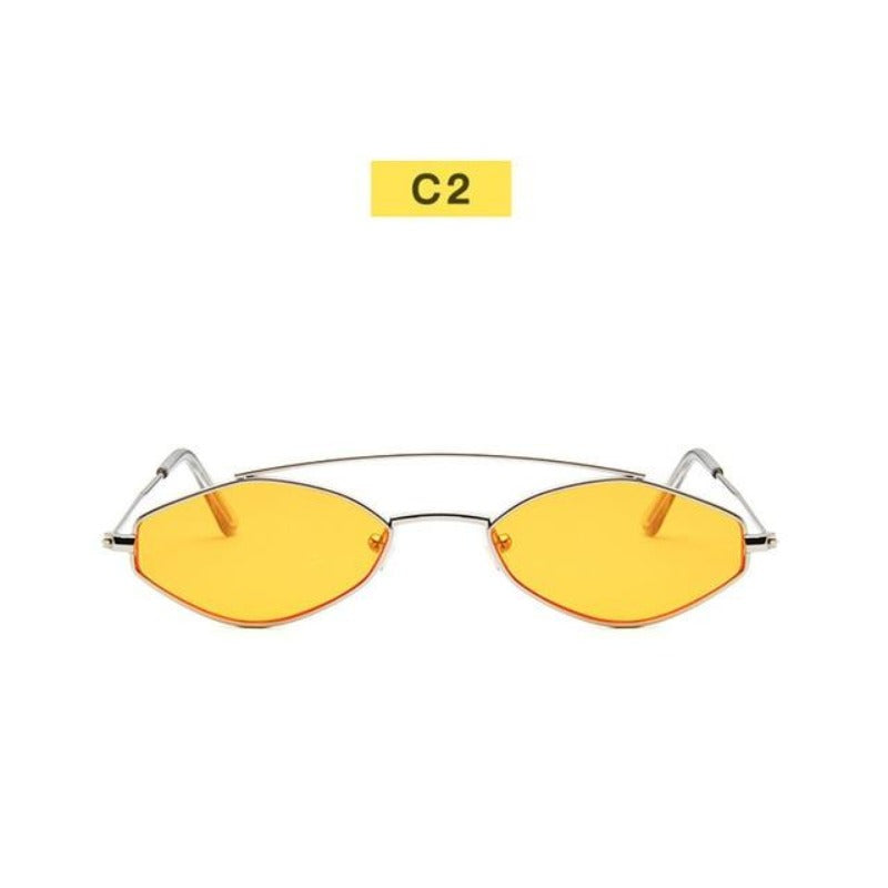 90's Oval Nose Resting Sunglasses-Ladies Sunglasses-C2-Mustard Silver-Product Detail: 90s Sunglasses Women Retro Oval Sunglasses Lady Brand Designer Vintage Sunglasses Girls Eyeglasses UV400 Frame Material: Alloy Lenses Material: Acrylic Dimensions: Lens Height: 30 mm Lens Width: 52 mm-Keyomi-Sook