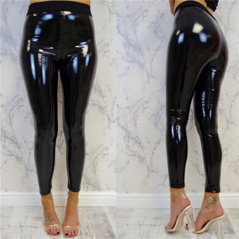 Women's Black Leather Shinny High Waist Pants-Leather ME UP-Black-S-Product Details: Women's Black PU Leather Shinny Pencil Elastic High Waist Pants Material: Polyester Color: Black Size Chart:-Keyomi-Sook