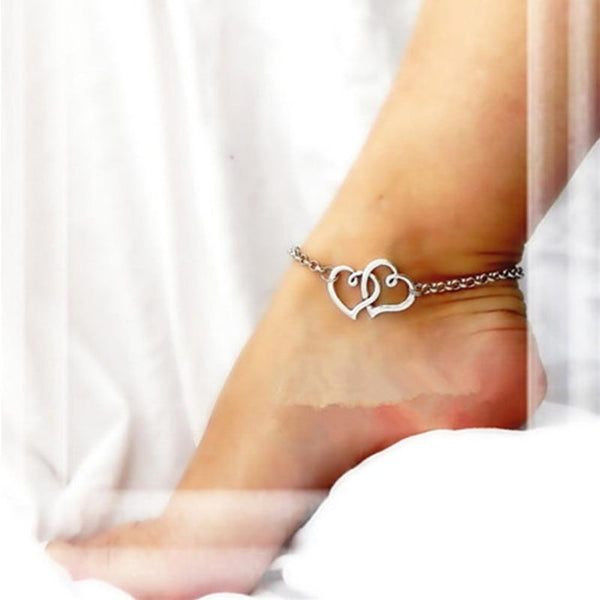 Women's Double Heart Chain Anklet-Body Jewelry-Product Detail: Women's Double Heart Chain Beach Foot Anklet Material: Alloy Color: As The Picture Show Dimension: Size: about 21 + 5 cm / 8.3 + 2.0 inch-Keyomi-Sook