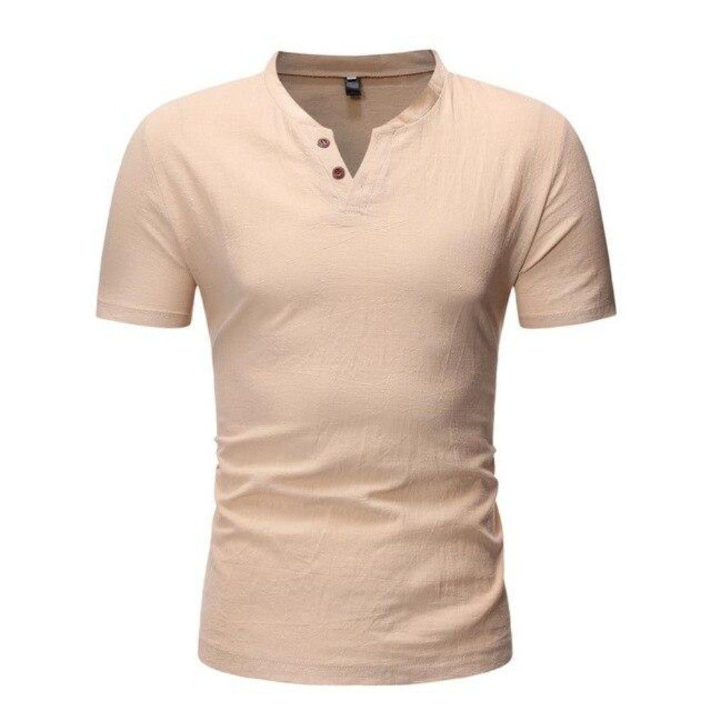 Men's Short Sleeve 2 Button Collarless Henley Shirt-Men's Shirt-Khaki-M-Product Details: Men's Button Down Short Sleeve Slim Fit Henley Casual Dress Shirt Item Type: Shirts Shirts Type: Casual Shirts Material: Linen, Spandex Sleeve Length (cm): Short Collar: Mandarin Style :Casual Fabric Type: Broadcloth Sleeve Style: Regular Pattern Type: Solid Closure Type: Single Breasted Size Chart:-Keyomi-Sook