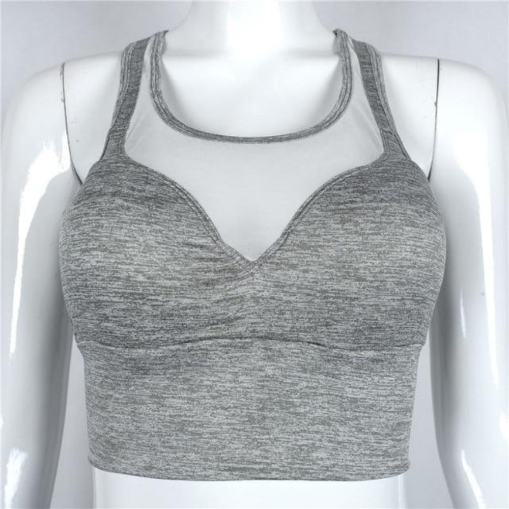 Women's Gauze Bustier Tank Top-Crop_Halter_Bralet-grey-S-Product Details: Women's Gauze Patchwork Bustier Sports Tank Top Sports Type: Fitness Feature: Breathable Material: Polyester, Spandex Size Chart:-Keyomi-Sook