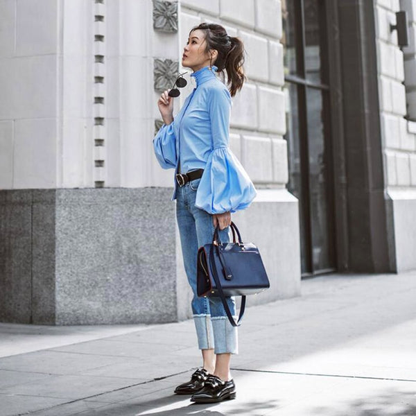 Blu Button-Up Collar Bell Sleeve Blouse-Tops, Blouses, & Tees-Product Details: Long Wide Lantern Sleeve Blue Blouse Women Button Down Blouses Shirts Female Autumn Winter Tops Material: Polyester, Cotton Size Chart:-Keyomi-Sook