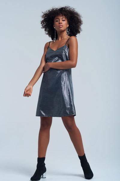 Shiny Silver Dress-Women - Apparel - Dresses - Day to Night-L-Keyomi-Sook