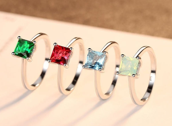 Emerald Stone Stirling Silver Ring-Ladies Rings-6-Keyomi-Sook