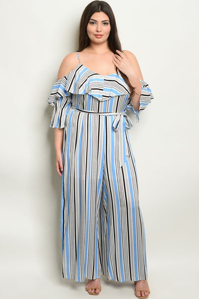 "Womens Stripes Plus Size Jumpsuit-Women - Apparel - Plus-Product Details Plus size short sleeve cold shoulder striped ruffled jumpsuit. Country: CHINAFabric Content: 100% RAYONSize Scale: 1XL-2XL-3XLDescription: L: 59"" B: 44"" W: 40"" I.S.: 28""-Keyomi-Sook"