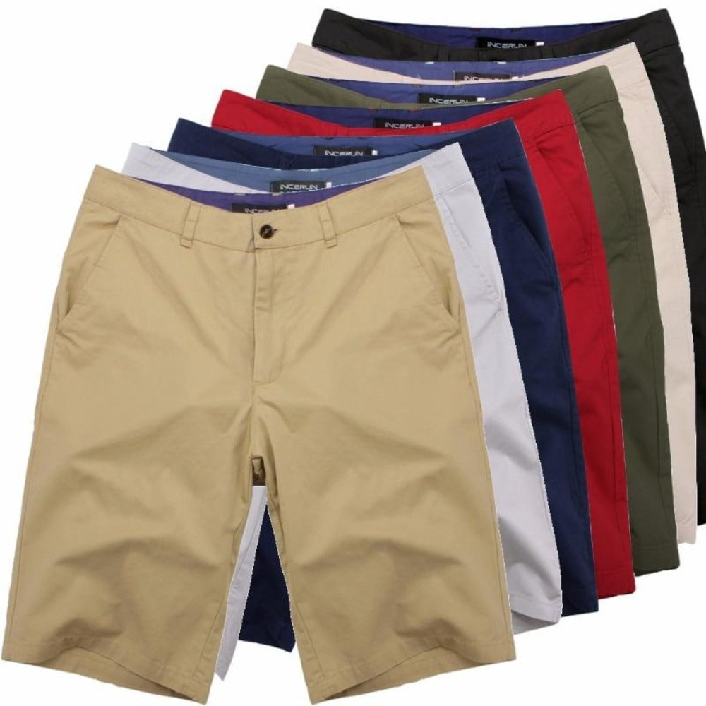 Men's Cotton Knee Length Summer Shorts-Mens Pants and Shorts-Product Details: Men's Cotton Knee Length Vintage Casual Summer Shorts Item Type: Shorts Style: Casual Material: Polyester, Cotton Waist Type: Mid Closure Type: Zipper Fly Fit Type: Straight Length: Knee Length Pant Style: Regular Pattern Type: Solid Color: Red, Navy, Khaki, Beige, Grey, Black, Army Green Package Include: 1 * Shorts Size Chart:-Keyomi-Sook