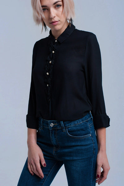 Black Shirt With Buttons-Women - Apparel - Shirts - Blouses-L-Keyomi-Sook