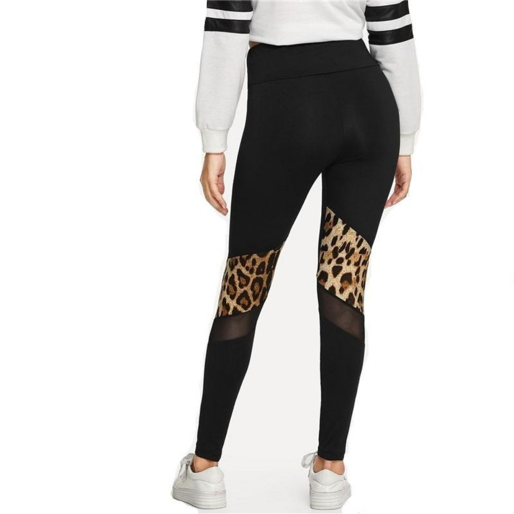 Women's Black Contrast Mesh Leopard Print Leggings-Athletic Wear-Product Details: Women's Black Contrast Mesh Leopard Print High Waist Skinny Leggings Waist Type: High Material: Polyester, Spandex Length: Ankle-Length Pattern Type: Leopard Fabric Type: Broadcloth Color: Black Size Chart:-Keyomi-Sook