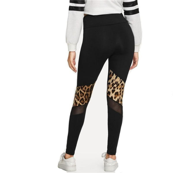 Leopard Print Mesh Leggings-Athletic Wear-Product Details: Fitness Black Contrast Mesh Leopard Print Leggings High Waist Women Skinny Workout Pants Waist Type: High Material: Polyester, Spandex Length: Ankle-Length Pattern Type: Leopard Fabric Type: Broadcloth Color: Black Size Chart:-Keyomi-Sook