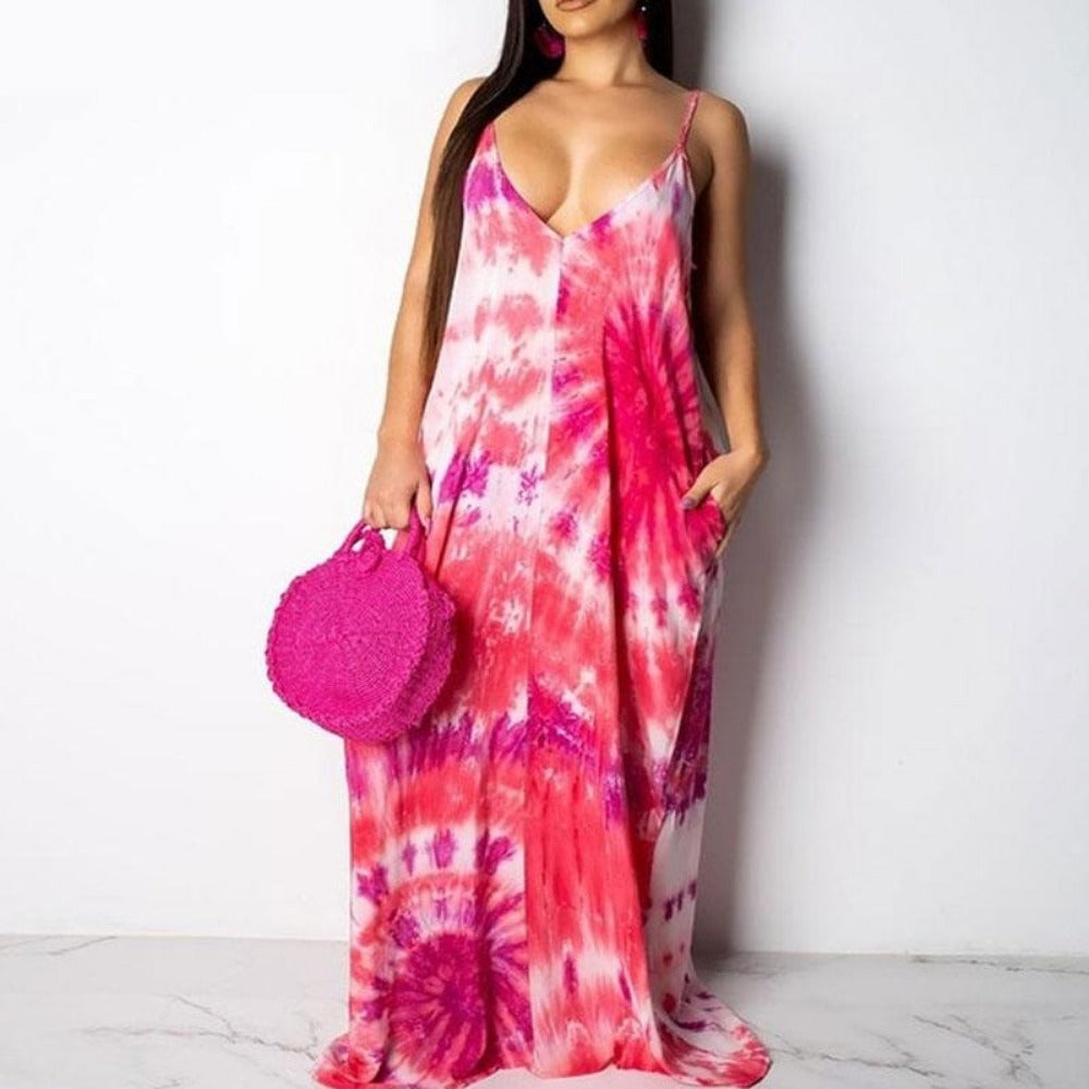 Women'S Tie Dyeing Boho Knitted Maxi Dress-Women - Apparel - Dresses - Maxi-Tiedyeing-S-Product Details: Women's Tie Dyeing Boho Print Soft Knitted Maxi Dress Material: Polyester, Spandex, Cotton Style: Beach Style Silhouette: Straight Pattern Type: Striped Sleeve Length (cm): Sleeveless Dresses Length: Floor-Length Sleeve Style: Spaghetti Strap Waistline: Natural Neckline: V-Neck Season: Summer Size Chart:-Keyomi-Sook