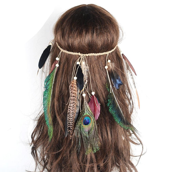 Bohemian Peacock Multi Feather Headband-Beauty Shop-Product Details: Artilady bohemian headbands multi color peacock feather hair accessories Weight: 11 g Function: Hair Accessory Dimension: Length: 25 cm-Keyomi-Sook