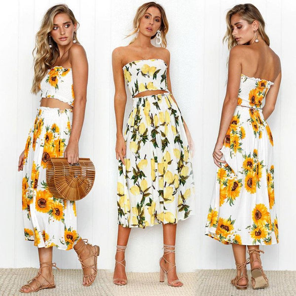 Tube Top Spring Floral & Skirt Set-Skirts-Product Details: Summer Boho Dress Sets 2PCS Women Clothes Sets Off Shoulder Skinny Lemon Sunflower Print Tube Tops Skirts 2 Styles Material: Cotton Pant Closure Type: Elastic Waist Dresses Length: Mid-Calf Collar: Slash Size Chart:-Keyomi-Sook