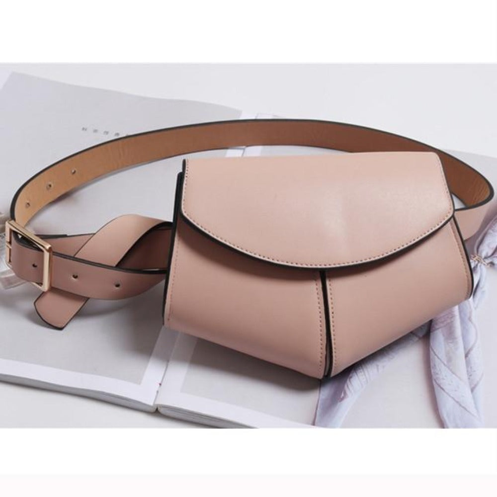 Women'S Serpentine Waist Leather Belt Bag-Women - Bags - Shoulder Bags-Pink waist bag-Product Details: Women's Serpentine Fanny Pack Mini Disco Waist Leather Belt Bag Item Type: Waist Packs Main Material: PU Style: Fashion Pattern Type: Solid Shape: Pillow Dimensions: Strap Drop: 102 cm Item Length: 18 cm-Keyomi-Sook