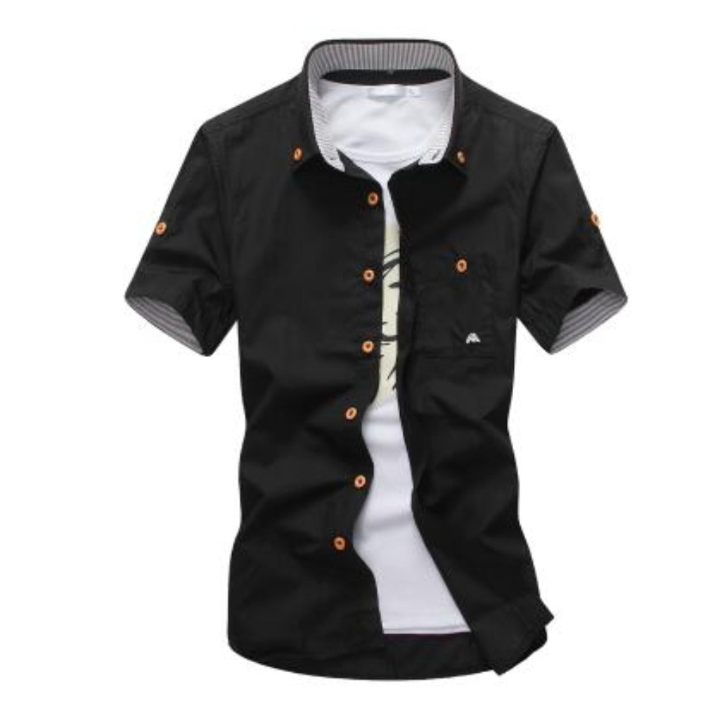Men's Mushroom Stitching Casual Shirt-Men's Shirt-Black-size M 165cm 55kg-Product Details: Men's Mushroom Embroidery Short Sleeve Casual Cotton Shirt Item Type: Shirts Shirts Type: Casual Shirts Material: Polyester, Cotton Sleeve Length (cm): Short Collar: Turn-down Style: Casual Fabric Type: Broadcloth Fabric: Cotton, Polyester Size Chart:-Keyomi-Sook