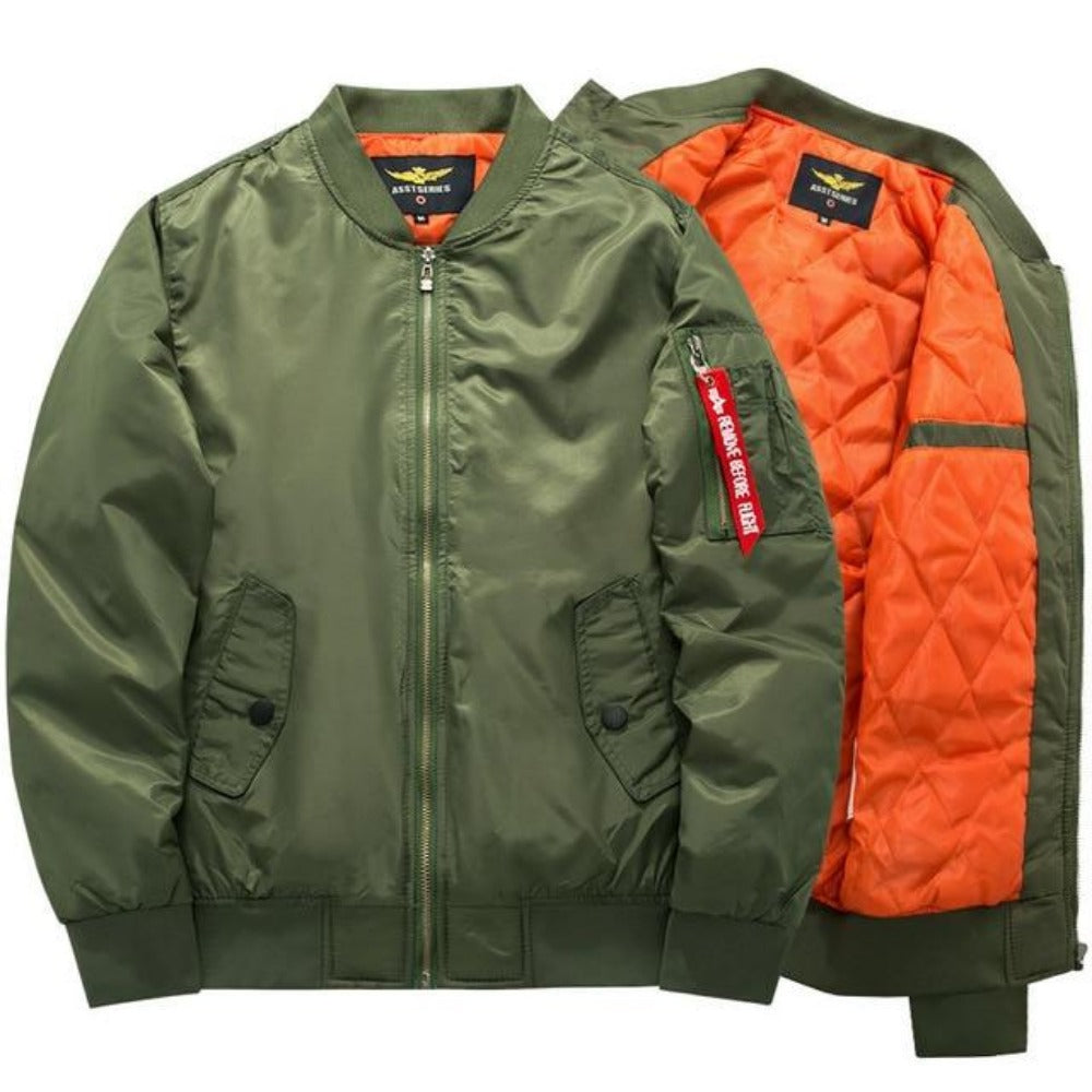 Men's Thick and Thin Military Bomber Jacket-Men's Jackets-1-Green-S-Product Details: Men's Thick and Thin Military Motorcycle Bomber Jacket Lining Material: Polyester Material: Polyester, Nylon Cuff Style: Conventional Collar: V-Neck Size Chart:-Keyomi-Sook