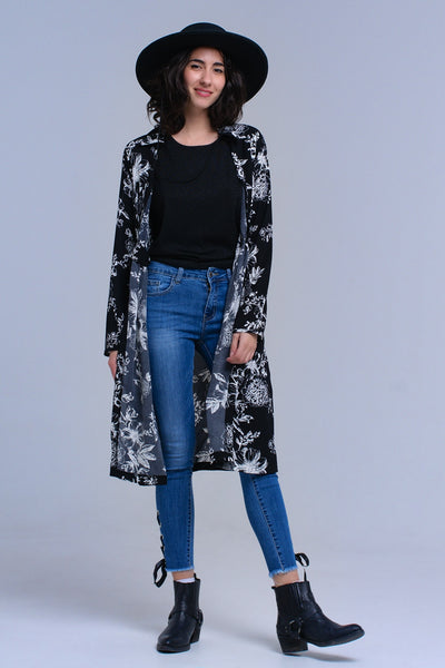 Black Flower Printed Kimono Cardigan-L-Product Details Black dress with flower printed pattern. It is open in the front with a ribbon detail that you can tie on the back because of a little eyelet on the right. For this reason the dress has a crossed effect. It has long sleeves and a collar neck.-Keyomi-Sook