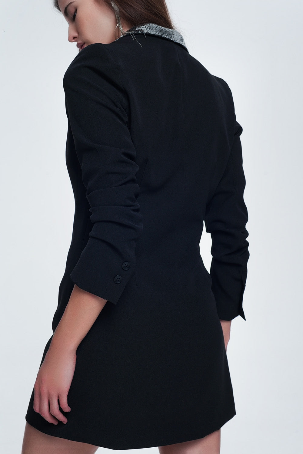 Black Mini Dress With Shiny Detail By The Collar-Women - Apparel - Dresses - Day to Night-L-Keyomi-Sook