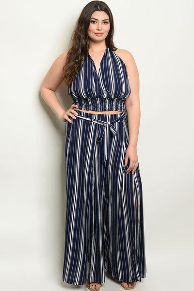 "Navy Stripes Plus Size Top & Pants Set-Women - Apparel - Plus-Product Details Plus size sleeveless halter neck striped top and pants set. Country: CHINAFabric Content: 100% POLYESTERSize Scale: 1XL-2XL-3XLDescription: TOP: L: 17"" B: 34"" W: 30"" PANTS: L: 42"" W: 34"" I.S.: 27""-Keyomi-Sook"
